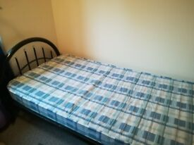 A single bed with mattress (black metal frame) (£15 ONO)