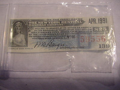 NEW YORK CENTRAL  (RAILROAD) COMPANY STOCK CERTIFICATE COUPON  (BLUE)
