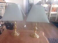2x Brass Table Lamps