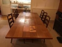 Vintage extending oak dining table and 6 x Ercol chairs