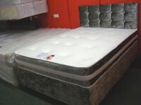 Crushed Velvet Small (4Ft) Double Divan Bed and Memory Foam Mattress