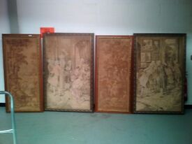 Collection of 4pcs of old large canvas wall art