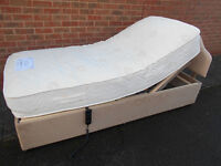 Single electric adjustable bed with mattress and headboard