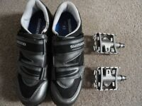 SHIMANO SPD CYCLE SHOES SIZE 8 + PEDALS
