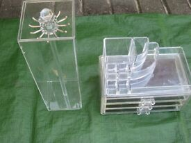 Clear Perspex Plastic Jewelry Box, Jewelry Stand and Necklace Box - All Three for £7.00