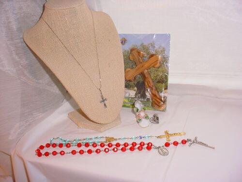 Knights Of Columbus Olive Wood Wall Cross Mixed Lot Catholic Items