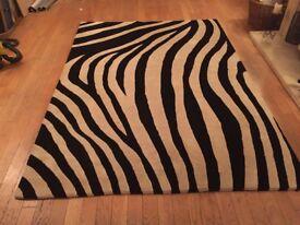 100% thick wool zebra rug