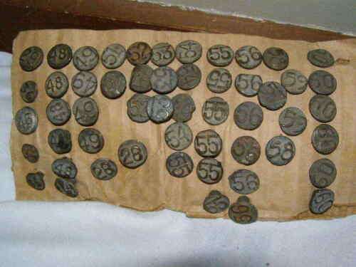 Lot of 53 Stamped Railroad Date Nails  1914-1960