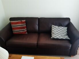 Brown leather couch & chair