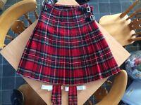 "Mans Kilt. 15 yard Woven Stewart Tartan Scottish Kilt and sock flashes( Made in Scotland) .32"" waist"