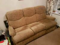 Fabric Beige 3 SEATER and CHAIR recliners