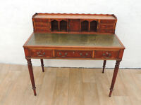 Antique style leather top desk with Keys Slim legs (Delivery)