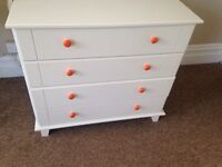 Chest of drawers draws solid white sturdy