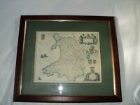 Framed Map of Old Wales. Reproduction print.