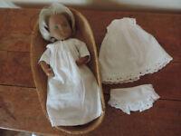 Sasha Doll Baby – Vintage 1970's in Her Original Wicker Basket – Rare Green Eyes