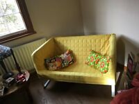 Vintage retro bright sofa with free cushions