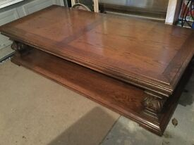 Solid wood Mediterranean style coffee table and side table
