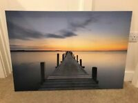 Dock in the bay sunset canvas wall art