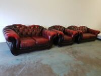 ANTIQUE OXBLOOD LEATHER CHESTERFIELD LOUNGE SUITE / 3 SEATER SOFA 2 SEATER SETTEE ARMCHAIR DELIVERY