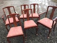 VINTAGE set of six dining chairs, including two carvers
