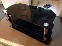 Large Black Glass TV Stand: