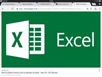 One to One Private Excel lessons for any office user £25 for first lesson (beginner/advanced tutor)