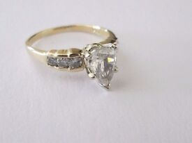 14ct Yellow Gold 1.30ct Pear Cut Diamond Engagement Ring Size O