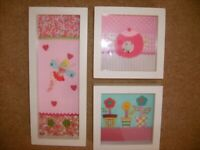 3 x Laura Ashley fabric pictures - buy together or seperately