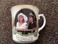 Mayfair bone china Prince Andrew and Sarah Ferguson commemorative wedding mug 1986