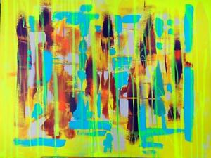 "ORIGINAL ABSTRACT PAINTING - ART BRIGHT COLORS - OAKVILLE 905 510-8720  SIZE 32X24"" Yellow Turquoise Orange Burgundy"