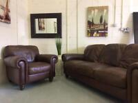 Genuine Leather 3 seater & Arm Chair Brown Vintage look FURNITURE CENTRE DELIVERY OPTIONS
