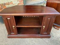 Solid wood (?teak) low tv cabinet- upcycle project ?? Potential hall seat/shoe store??