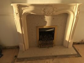 Marble fire place surround and gas fire Ruislip middx