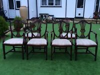 6 CHARLES BARR HANDMADE REPRODUCTION HEPPLEWHITE DESIGN DINING CARVER CHAIRS