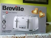 Breville 4 Slides Toaster in White. Brand New