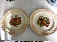 X2 Royal Worcester Spode Palissy England Fruit Decorative Plates