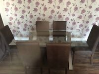 Glass Oak Dinning Table and 6 Chairs