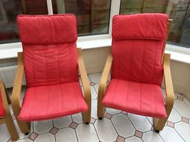2 X IKEA Poang chairs and 2 footstools (red)