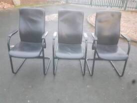 I will Chairs - Extra Comfy Quality Black Leather & Metal Frame Armchairs
