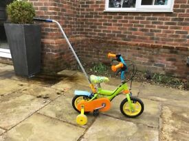 Toddler push bike with stabilisers and push along pole 10 inch wheels