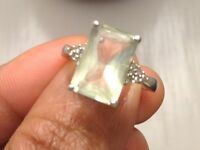 9ct white gold ring/ pale green amethyst and diamonds
