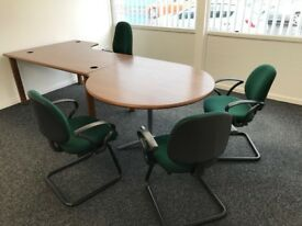 Mangers Desk finished in Quality Wood Veneer and attached Meeting Table