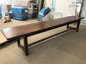 4m timber dining table - antique style, seats 14 people