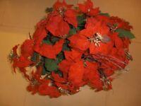 Silk Poinsettias (3 plants) - Red - terracotta pots