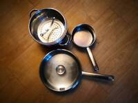 Set of 3 stainless steel pots and frying pans