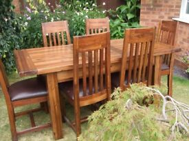 Solid Rustic Extendable Dining Table and Chairs