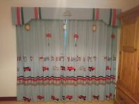 Childerns/boys designer Bedeck curtains 90 by 90 with blackout lining and pelmet to match