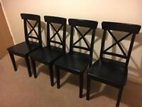 Ikea Ingolf Dining Chair Black x 4