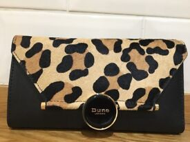 DUNE PURSE Black with animal print front and DUNE label. As new but not boxed