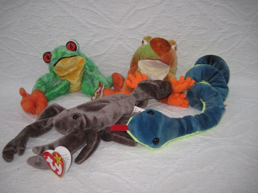 Ty Beanie Babies: 2 frogs, lobster & snake